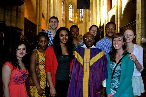 Students with Desmond TuTu
