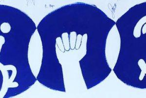 A printing of a power first against a Duke blue circle